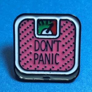 """Jewelry - """"Don't Panic"""" Pink Weight Scales Enamel Pin"""